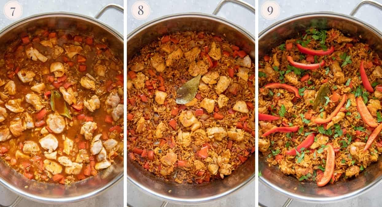 picture collage demonstrating how to make Jollof Rice with chicken on the stovetop
