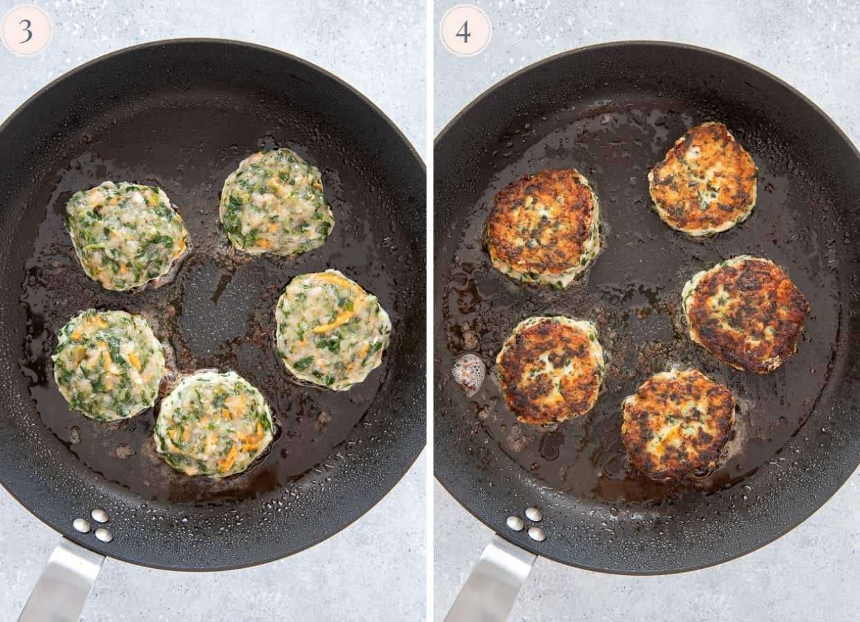 picture collage of paleo Ranch Chicken Poppers frying in a black frying pan