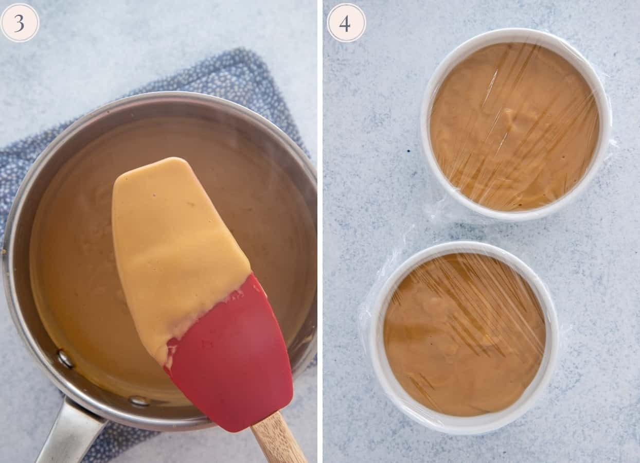 salted caramel pudding being cooked in a small saucepan