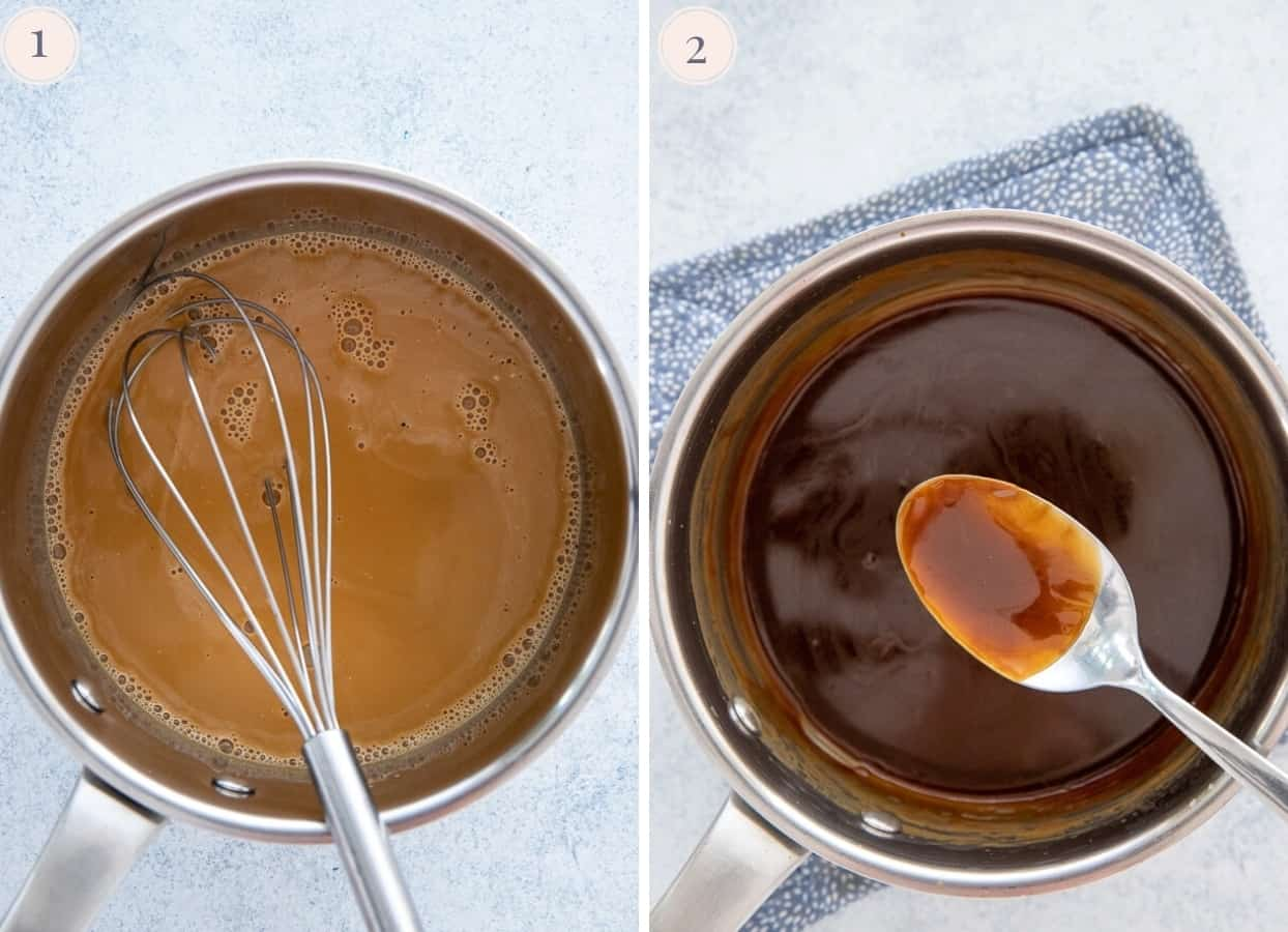 coconut caramel sauce being thickened in a saucepan