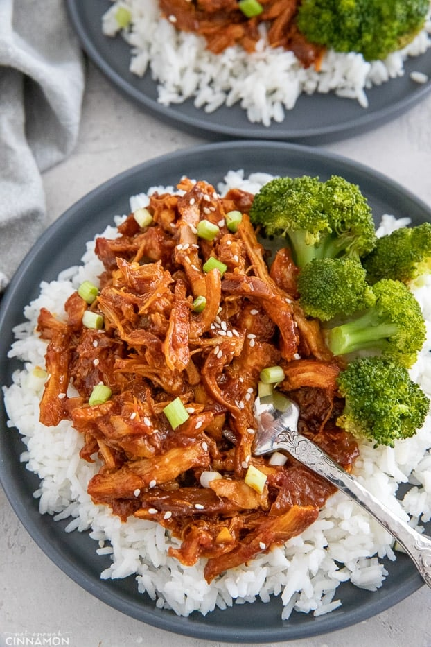 paleo slow cooker honey garlic chicken served over rice with a side of steamed broccoli