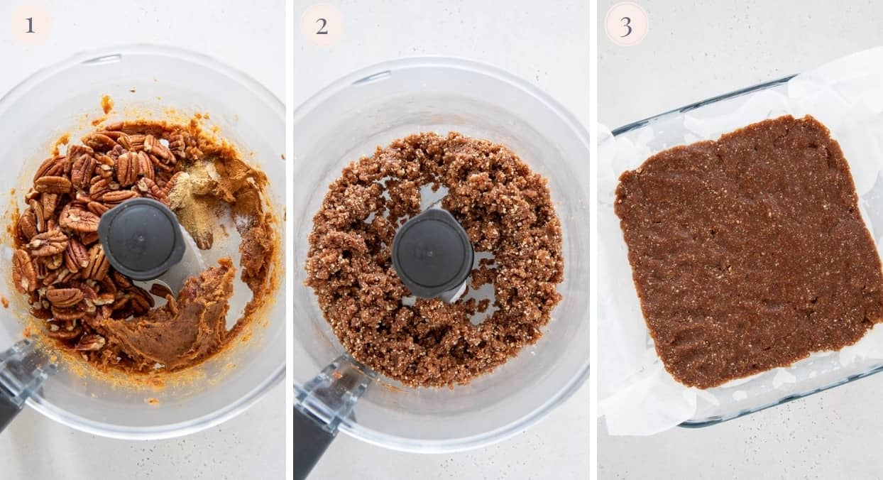 picture collage demonstrating how to make vegan cheesecake bar crust in food processor