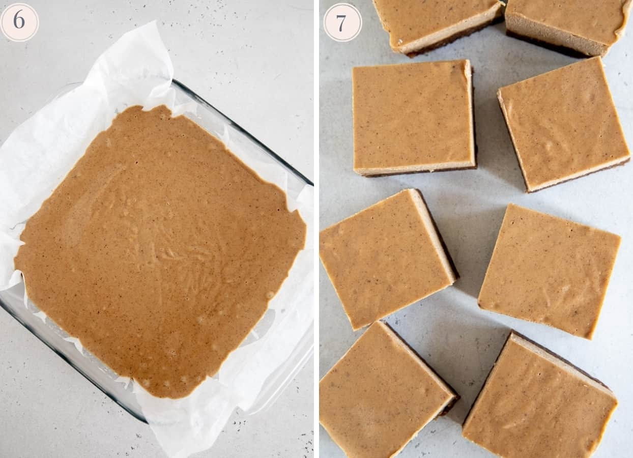 chilled vegan chai latte cheesecake being cut into squares