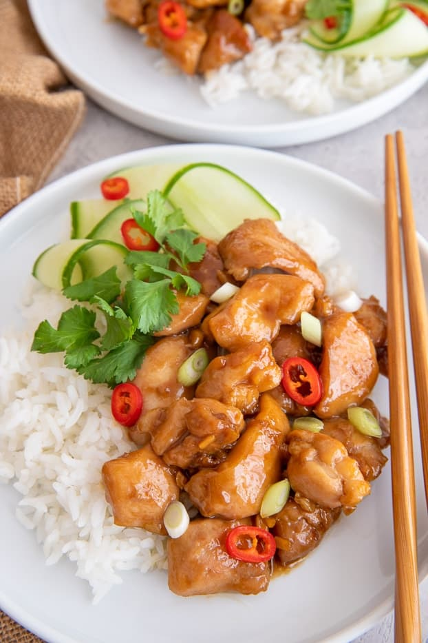 plate with rice and Vietnamese coconut caramel chicken