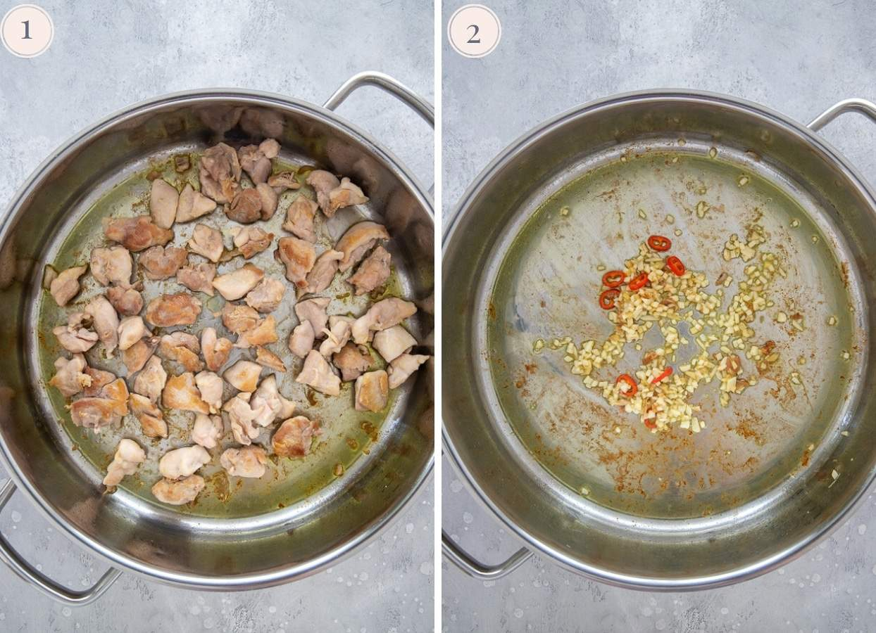 picture collage demonstrating how to fry chicken for making caramel chicken