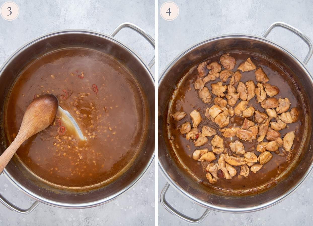 picture collage demonstrating how to make coconut caramel chicken in one pan