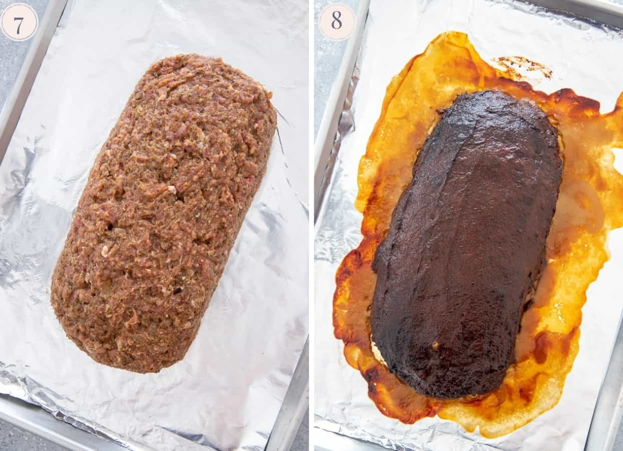 picture collage demonstrating how to shape and glaze a paleo turkey meatloaf
