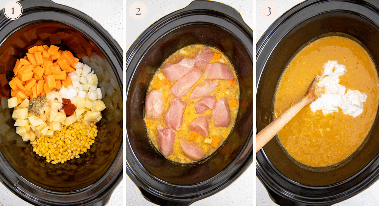 a picture collage demonstrating how to make healthy chicken corn chowder in a slow cooker