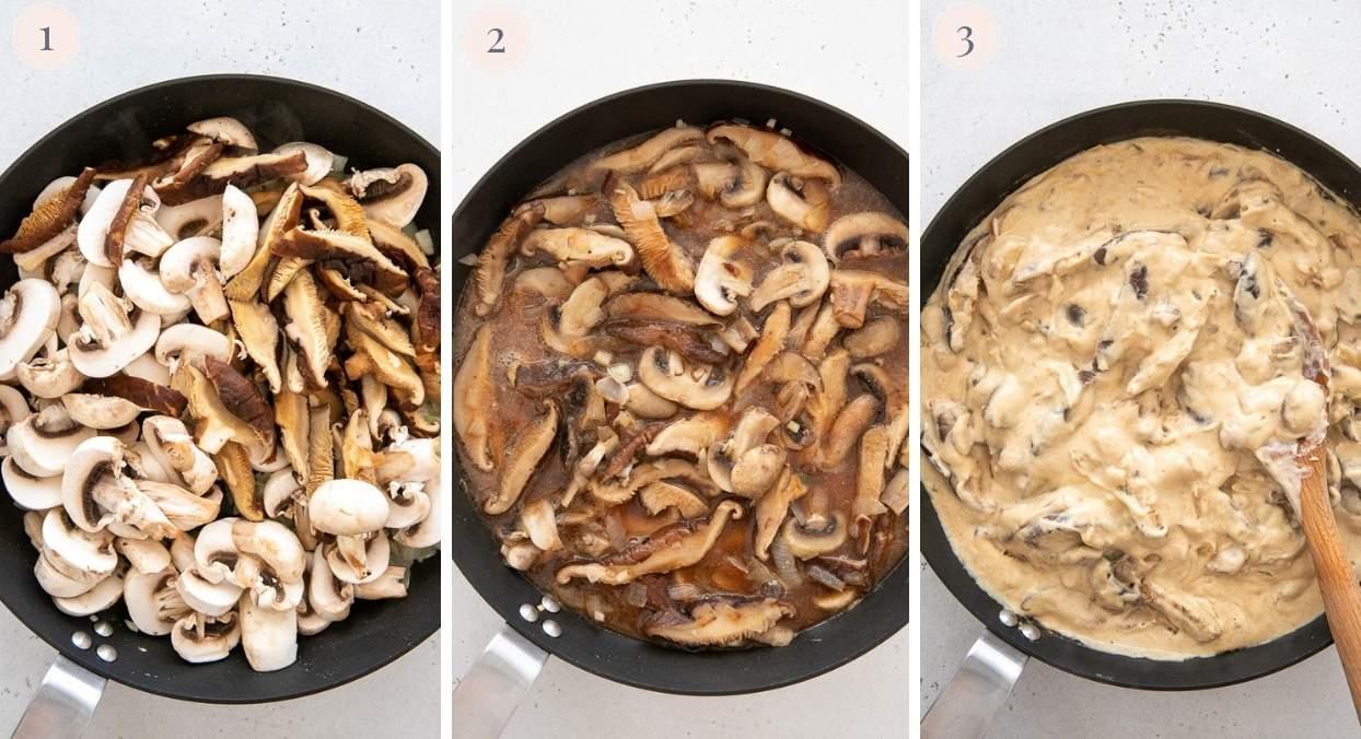 vegan mushroom stroganoff sauce in a black skillet