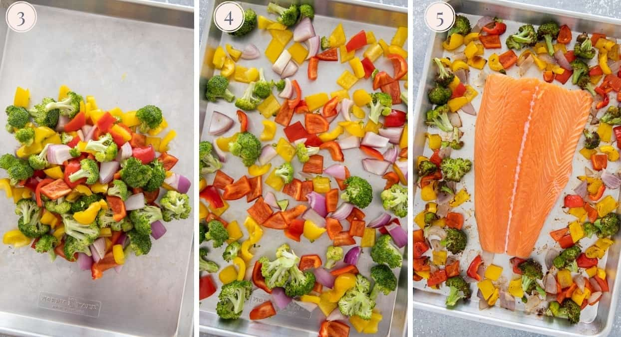 picture collage demonstrating how to bake salmon fillet on a sheet pan along with vegetables
