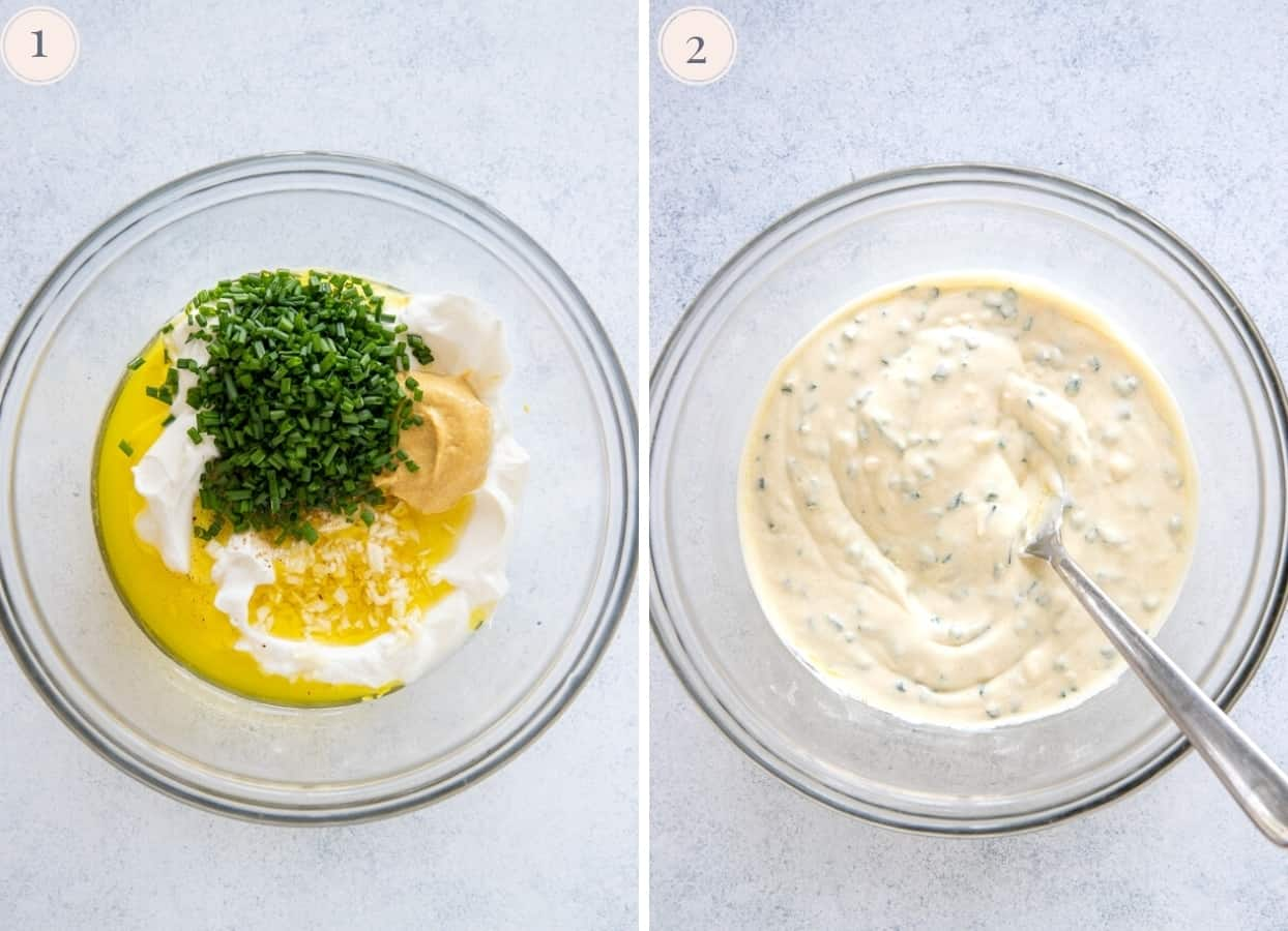 two picture collage demonstrating how to make Greek yogurt dressing for potato salad