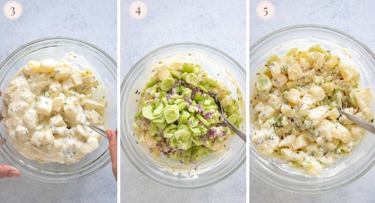 three picture collage demonstrating how to toss warm potatoes with Greek yogurt dressing