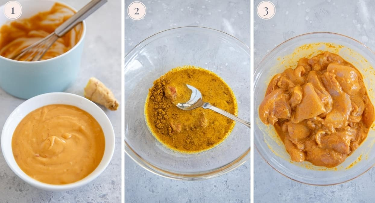 picture collage demonstrating how to marinate chicken thighs to make satay skewers