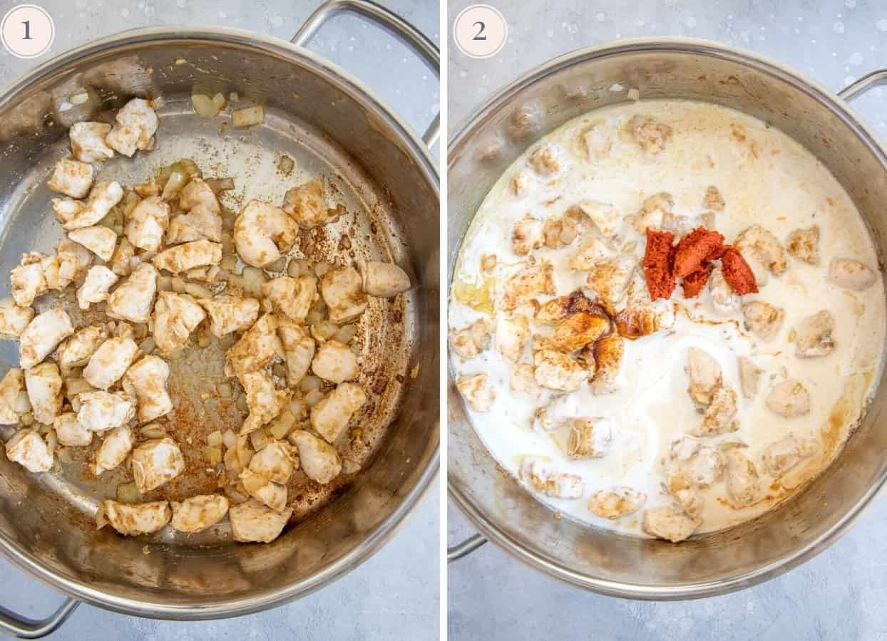 picture collage demonstrating how to make red thai curry with chicken