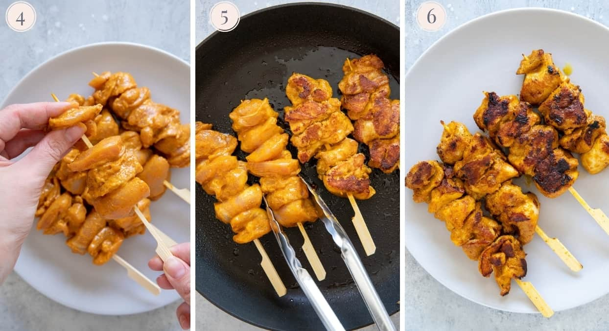 picture collage demonstrating how to pan-fry marinated chicken skewers for Satay Chicken Bowls