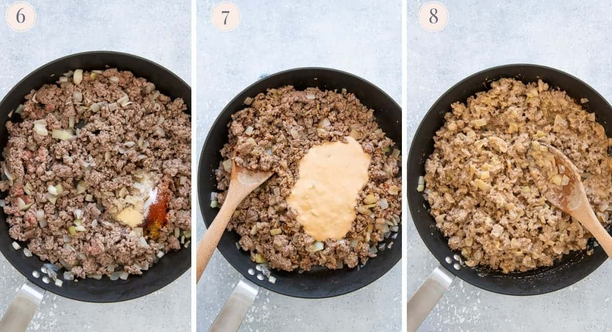 ground beef being fried in a skillet then tossen with special sauce for burger casserole recipe