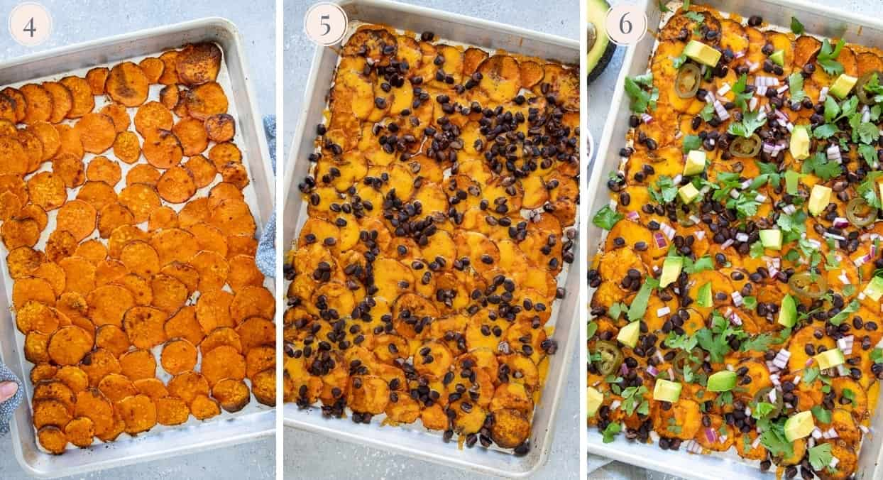 picture collage of sweet potato nachos being arranged and baked on a sheet pan with black beans and then topped with Mexican toppings