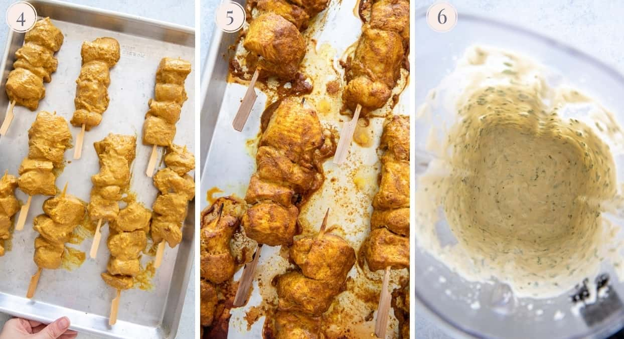a picture collage demonstrating how to make tandoori chicken skewers