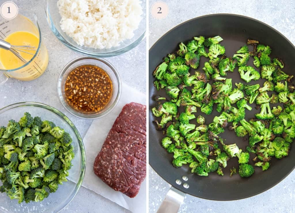picture collage demonstrating how to pan-fry broccoli florets until charred