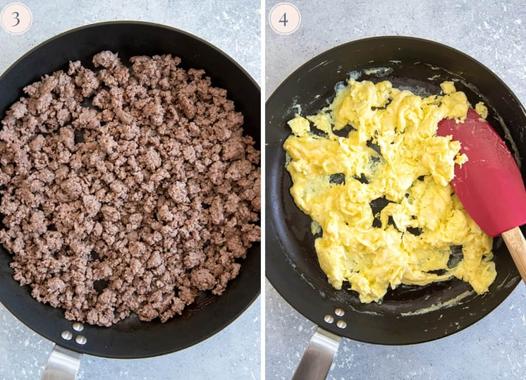 picture collage demonstrating how to  pan-fry ground beef and eggs separately to make fried rice recipe