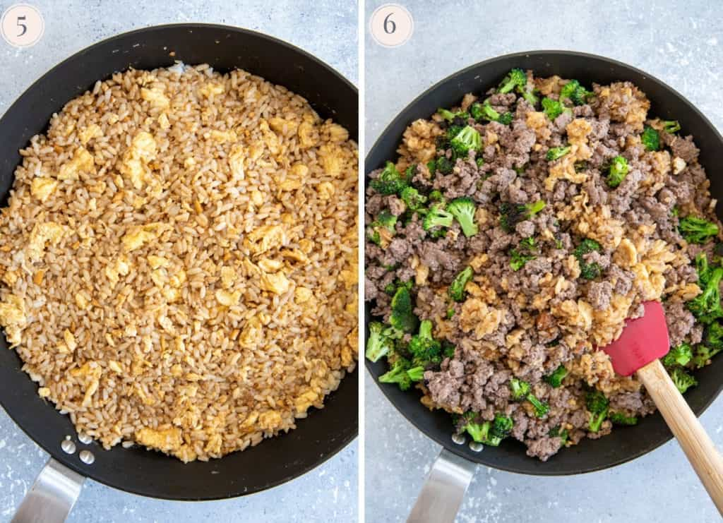 picture collage demonstrating in which order to add the ingredients to the skillet for making Beef and Broccoli Fried Rice