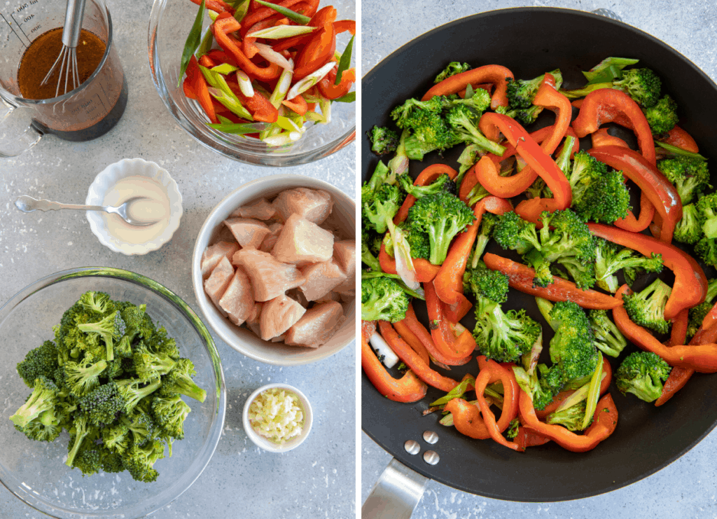 a picture collage with two pictures, one with ingredients needed for hot honey chicken stir fry, one with veggies being sauteed in a frying pan