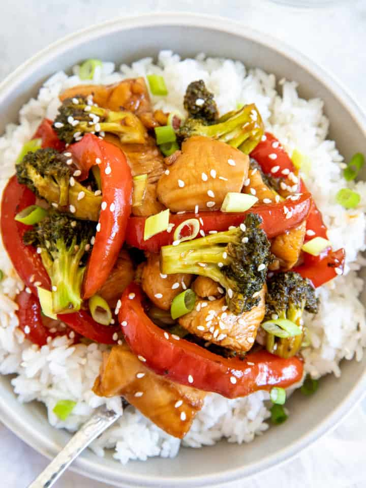 healthy hot honey chicken served over rice