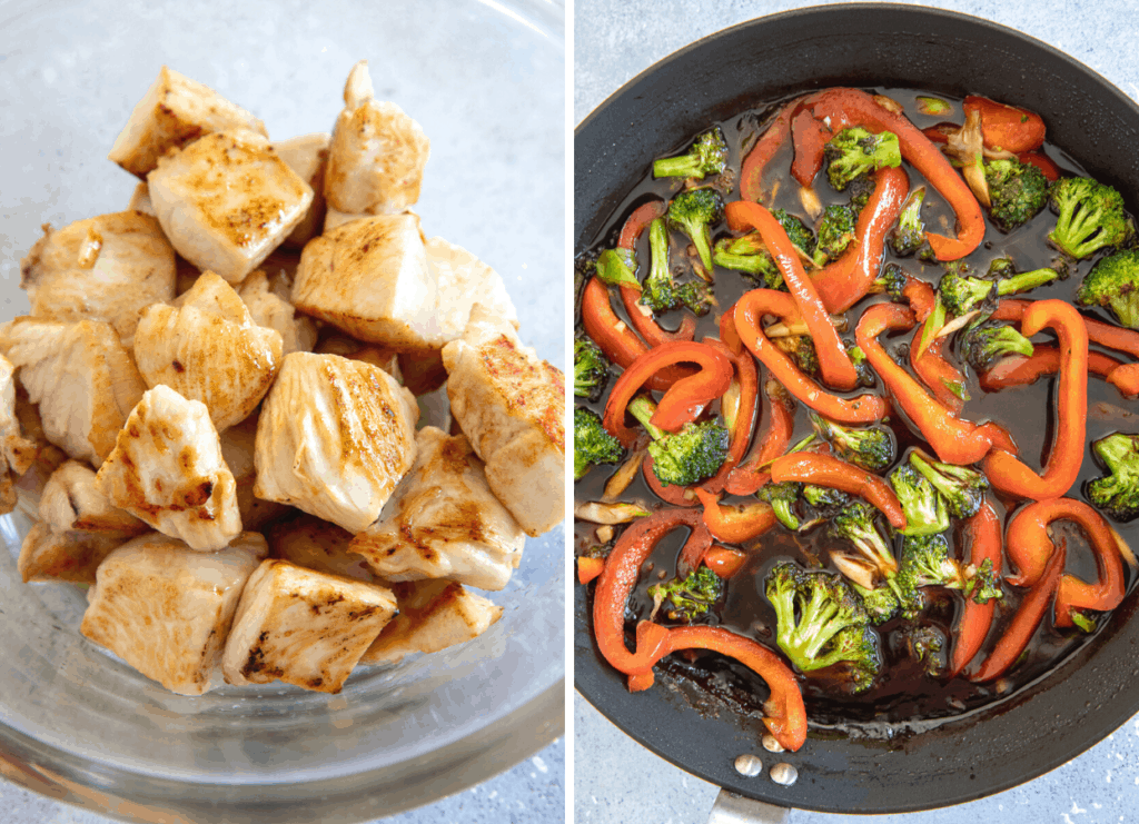 a bowl with fried chicken chunks next to a frying pan with bell pepper and broccoli
