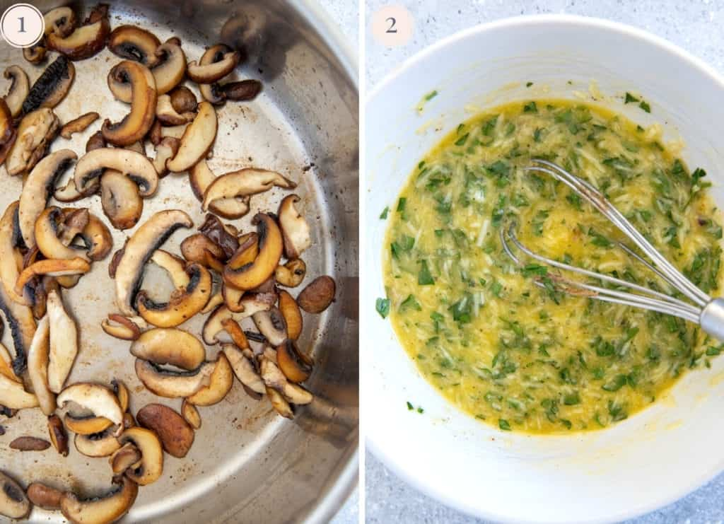 sauteed mushrooms in a bowl and a bowl with parsey, parmesan and eggs being mixed