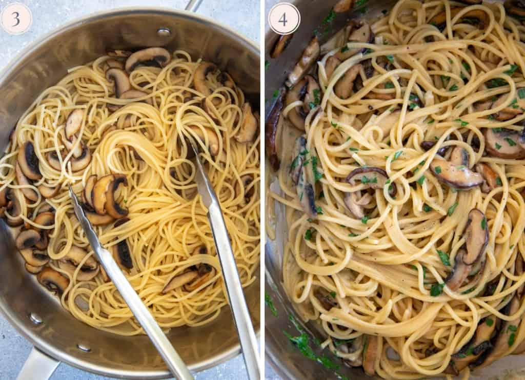 picture collage demonstrating how to toss mushroom carbonara in creamy egg sauce