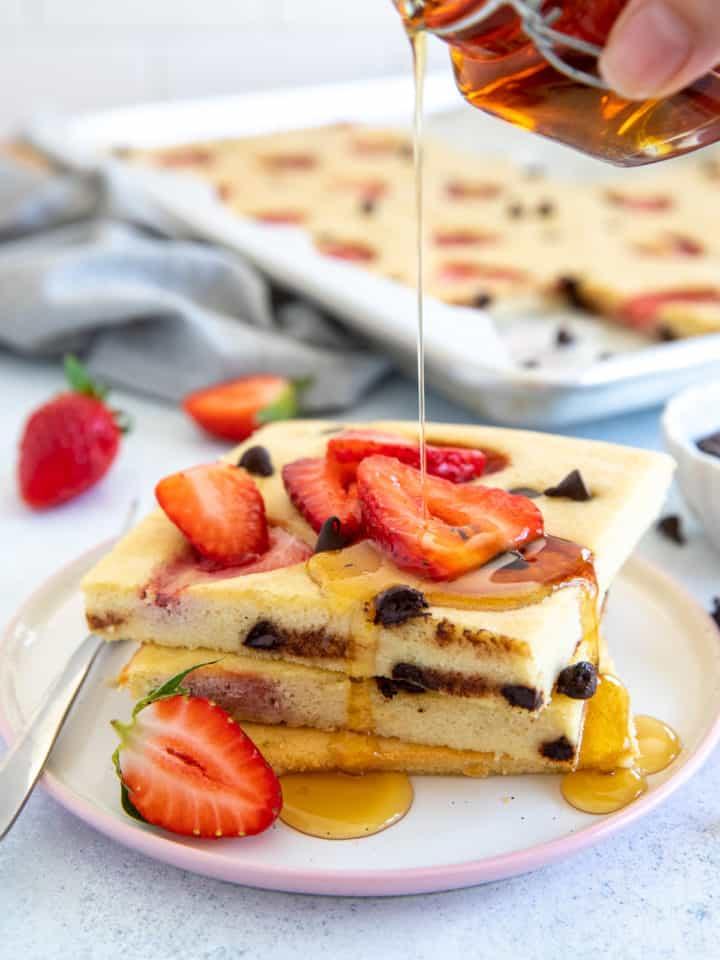 stacked paleo sheet pan pancakes