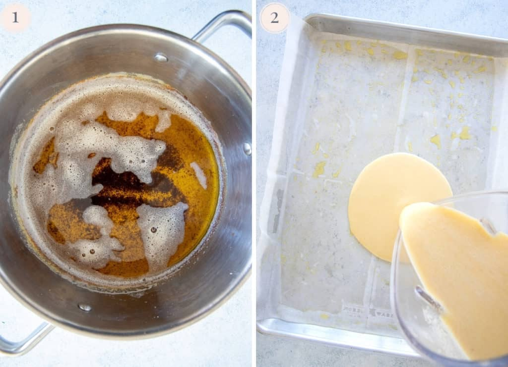 a pot of brown butter and picture of pancake batter being poured onto a sheet pan