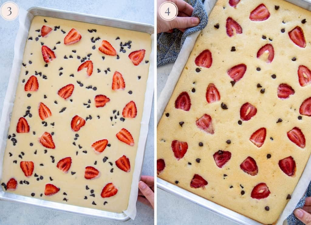 a picture collage with a sheet pan with sheet pan pancakes