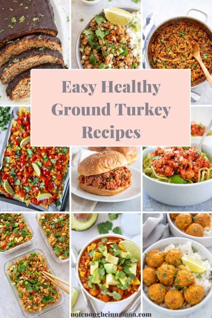 9 picture collage for ground turkey recipe roundup with different healthy dishes using ground turkey