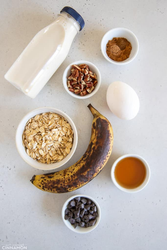 ingredients needed for making banana bread baked blended oats in the micowave