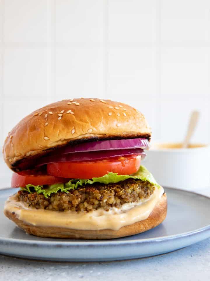 quinoa mushroom burger on a plate